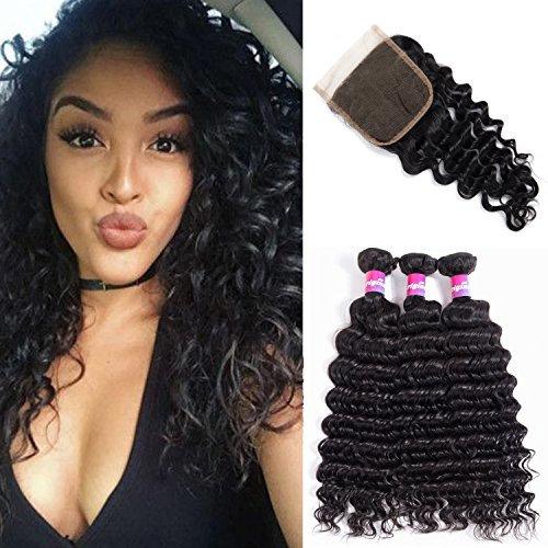 Brazilian Deep Wave Virgin Hair 8A Curly Hair 3 Bundles with closure Thick and Unprocessed Remy Human Hair Extensions Natural Black Color 1B# 100g/pcs by Originea(12
