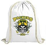 Shirt Happenz Packers Skull Premium Turnbeutel American Football Totenkopf Football-Helm Unisex Gymbag, Farbe:Weiß (Gymbeutel);Größe:37cm x 46 cm