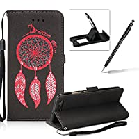 Leather Case for Huawei P10,Strap Flip Wallet Cover for Huawei P10,Herzzer Luxury Stylish Shining Bling Glitter Dreamcatcher Design Black PU Leather Stand Card Holder and ID Slot Money Pouch Magnetic Clasp Slim Flip Protective Skin Case Cover for Huawei P