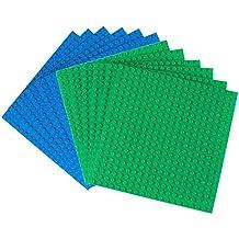 Strictly Briks Premium Base Apilable Azul Y Verde De 15. 24cm X 15. 24cm Paquete De 12 - Compatible Con Las Principales Marcas