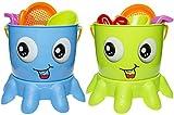 Sandeimergarnitur Octopus in 2 Farben Sandspielzeug 7 tlg. Sand Eimer Eimergarnitur Strand Spielzeug Set Sandeimer Sandschaufel Sandformen, Farbe:Grün