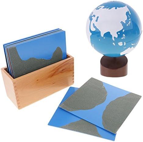 MagiDeal MagiDeal MagiDeal Set Jeu Educatif   Montessori Géographie Carte Sablé avec Globe Topographique de Terre et d'Eau B0752QXDJ2 468496