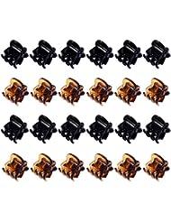 24 Stück Mini Haarspangen Kunststoff Haargreifer Pins Schellen für Mädchen und Damen (Schwarz und Braun)