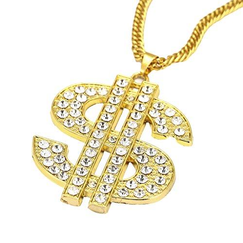 Sharplace Collar Colgante Cadena Color Oro Accesorios Hip Hop Rap Rapero Rapper - Estilo 3 (Forma Dólar)