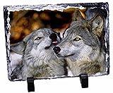 Wölfe in Love, Motiv Tier-Foto auf Schieferplatte