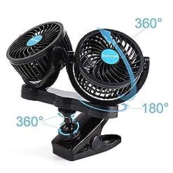 Issy Zone auto ventilatore ventola da auto 12V Doppia Ventola Mini Ventilatore USB 360gradi di rotazione auto con CLIP per auto di tutte le misure, limousinen, Fuoristrada, roulotte, barche