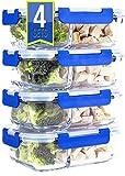 Misc Home Boites alimentaires en verre à 2 compartiments pour déjeuner avec couvercle hermétique à clipser, (830ml, rectangulaire)