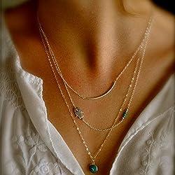kercisbeauty tres capas gargantilla collar con la mano de Fátima y turquesa para las mujeres y las niñas, fina cadena, regalo para ella, para cualquier condición