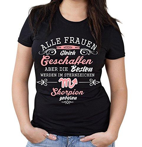 Sternzeichen Skorpion Girlie Shirt | Esoterik | Astrologie | M1 Schwarz