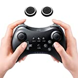 Wireless Controller Gamepad Remote for Nintendo Wii U Pro with Two pcs Free Thumb Grip Thumbstick Noctilucent Sets