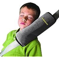 CYBERNOVA Asiento de vehículo Coche del arnés del cinturón de hombro del cojín de cubierta del amortiguador de soporte de la cabeza de cabrito del niño (gris)