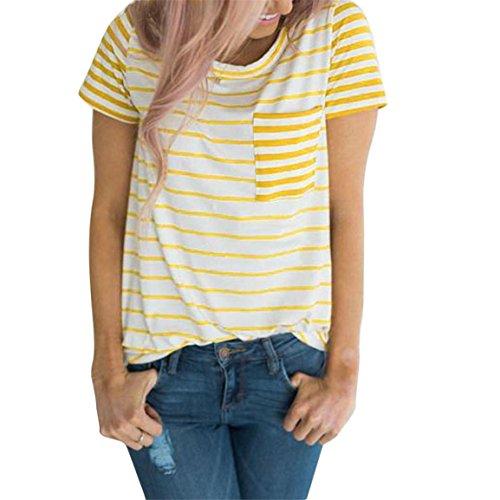 Moonuy Frauen Kurzarm-Oberteile, 2018 Mode V-Ausschnitt Damen Striped Patchwork Bluse Kleidung T-Shirt mit Taschen Bleistift Pullover Freizeit Sweatshirt für Frauen (EU 36/Asien M, - Polo-shirts Frauen