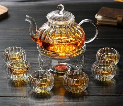 Pyrex Glas Tee-Set Paket Tee-Set schwarz Camellia Kürbis Teekanne, Streifen Kristall Teekanne Flower Tee-Set