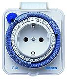 Theben 0260855 timer 26 IP 44 analoge Zeitschaltuhr Steckdosen-Zwischenstecker, weiß