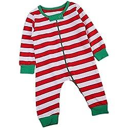 Magiyard Bebé niños Navidad Manga Larga Rayas Romper Jumpsuit Trajes de Pijamas (18M, Rojo)