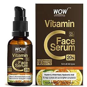 WOW Skin Science Vitamin C Serum - Brightening, Anti-Aging Skin Repair, Supercharged Face Serum, Dark Circle, Fine Line & Sun Damage Corrector, Genuine 20% - 15ml