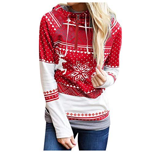 Auifor Weihnachten Frauen Zipper Print Tops Kapuzenpullover Pullover Bluse T-Shirt