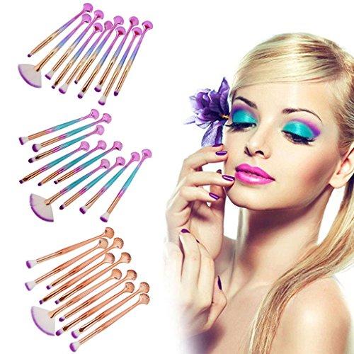 Pinceaux Maquillage coquille, HUHU833 Cosmétique Professionnel 10pcs Brosse de Maquillage de Brosse Poudre Contour Blush Correcteur Fondation Pinceaux Cosmétique Brosse Set Outils (A)
