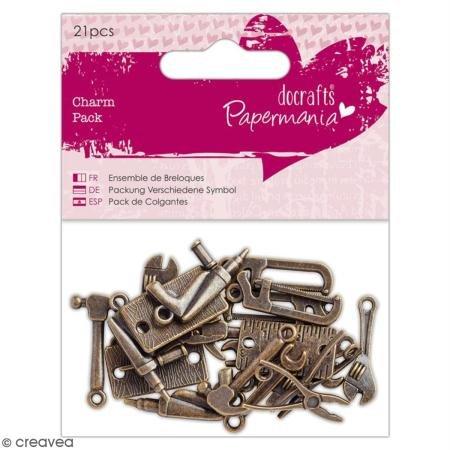 Papermania Charm-Verzierungen, Metall, Messingfarben, Einheitsgröße -