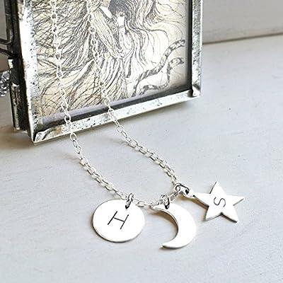 Personnalisé Argent Sterling Soleil, Lune et Étoile Collier, cadeau personnalisé, bijoux céleste, collier de lune, collier étoile, cadeau d'anniversaire