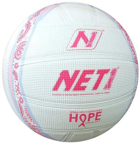 NET1 Pink Ribbon Hope Netball - Pink/Baby Blue, Size 5