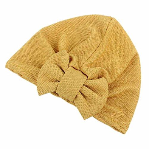 Cap Transer® Damen Mode Schön Hüte Make-up Baumwolle+Nylon Turban Hut Wrap Wassermelone Rot Gelb Rosa Pink Lila Khaki Beige Hijib Einfarbig Mützen mit Groß Bowknot (Gelb) (Leichte Jersey-wrap)