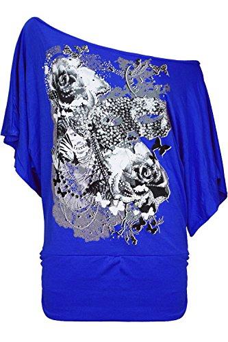 Damen Top Blumen Rosen Schmetterlinge schulterfrei Bardot weit Geschnitten Flügelärmel Königsblau