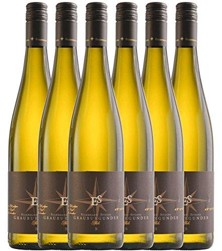 6er Vorteilspaket - Grauburgunder Gutswein trocken 2017 - Ellermann-Spiegel | trockener Weißwein | deutscher Sommerwein aus der Pfalz | 6 x 0,75 Liter