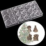 Ensemble de moule à pâtisserie 18 trous de style de Noël moule en chocolat en polycarbonate 3D moules de fabrication de chocolat