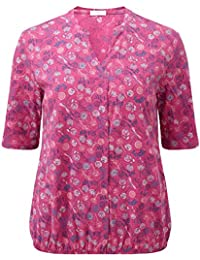 35c4b267c4f Cotton Traders Womens Casual Floral Cotton Elasticated Hem Half Length  Sleeved Blouse Top