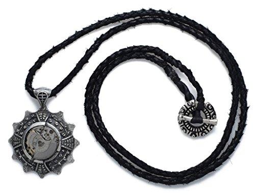 925 Sterling Silber Steampunk Halskette - 24 x 44 mm runder Anhänger aus Upcycling-Uhrenteilen, 63,5 cm lange Lederkette - Street Habit