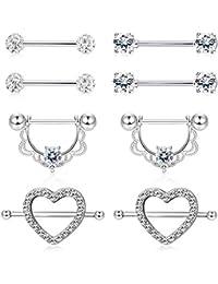 Finrezio 4 Pairs 14G Stainless Steel Nipplering Nipple Tongue Rings CZ Opal Barbell  Body Nipple Piercing 3aed3225b56a