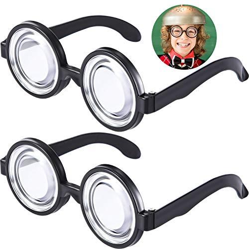 6 Paar Runde Schwachkorb Brillen Zauber Kunststoff Schwarz Rahmen Schwachkorb Brillen für Kostüm Party Gefallen