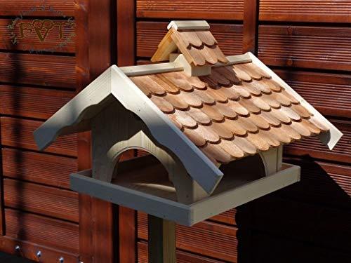 vogelhaus,groß,mit ständer,K-VONI5-MS-dbraun001 NEU MASSIVES GANZJAHRES PREMIUM-Qualität,Vogelhaus,+ NISTKASTEN IN EINEM (VOLL FUNKTIONSFÄHIG mit Reinigungsvorrichtung) !!! KOMPLETT mit Ständer !!! wetterfest lasiert, Qualität Schreinerware 100% Massivholz – VOGELFUTTERHAUS MIT FUTTERSCHACHT-Futtersilo Futterstation Farbe braun dunkelbraun schokobraun rustikal klassisch, Ausführung Naturholz MIT TIEFEM WETTERSCHUTZ-DACH für trockenes Futter - 2