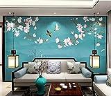 Carta da parati murale del fondo della TV dipinta a mano del sofà della magnolia cinese su ordinazione della carta da parati carta da parati fotomurali murale Soggiorno camera da letto-250cm×170cm