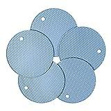 Soporte de Olla de Silicona de 5 Piezas y Mitones para Horno Aislante Antideslizante Multiusos Almohadillas de Goma en Forma de Panal Almohadilla Antideslizante Resistente al Calor (Azul nórdico)