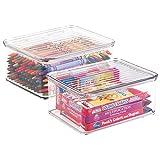 mDesign 2er-Set kleine Aufbewahrungsbox mit Deckel für Nähzeug, Bastelbedarf usw. – praktischer Schreibtisch Organizer – kompakter Nähkasten aus Kunststoff – durchsichtig