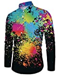 Loveternal Männer Funky Printed Langarm Shirt Farb Splatter Einzigartiges Muster Hemd Schwarz L