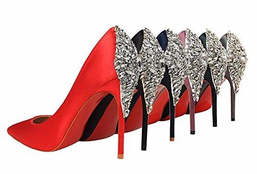 FLYRCX Stile Europeo poco profonda sottile shallowly appuntita in raso di seta satin lucido trapano acqua ladies' tacchi alti sexy party scarpe C