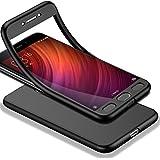 HICASER Redmi Note 4 360 Grados Cuerpo Completo Protección + Cristal Templado, Soft TPU Case Antideslizante Carcasa para Xiaomi Redmi Note 4 Negro