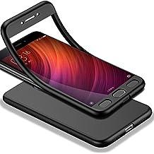 HICASER Redmi Note 4X 360 Grados Cuerpo Completo Protección + Cristal Templado, Soft TPU Case Antideslizante Carcasa para Xiaomi Redmi Note 4X Negro