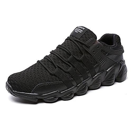 Zapatillas de Deporte Hombres Zapatos de Gimnasia Para Caminar de Peso Ligero Negro 43