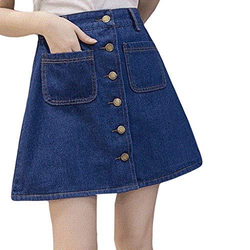 XZDCDJ Mode Frauen Freizeit Denim a-förmigen Rock lose Taste Tasche kurzen Rock(Dunkel blau,XL) -