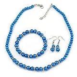 Parure con collana bracciale e orecchini, con perle di vetro/cristallo colore blu elettrico placcati in argento, diametro 5-7 mm e lunghezza 42 cm (regolabile di 5 cm)