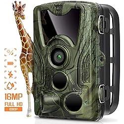 AGM Cámara de Caza, Trail Cámara 16MP 1080P Cámara de Animal Salvaje IP66 Impermeable, Angular de 120 ° y 0.3s Disparo Velocidad Juegos Cámara para Monitoreo de Animal y Seguridad Doméstica