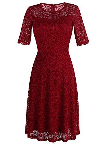 Dressystar Femme robe de soirée dentelle vintage,manches 3/4, longueur Mollet Bordeaux
