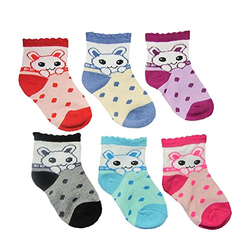 DADDY G Baby's Cotton Soft Touch Socks - Pack of 6 Pairs (Multicolour, 3-12 Months)
