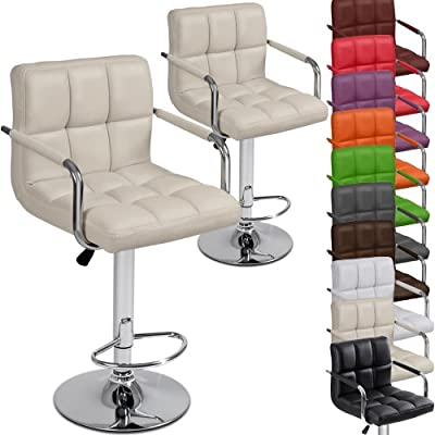 Miadomodo Two Swivel Bar Chairs with Armrest Seat Height Adjustable Stools (Different Colours) Home Dining Furniture