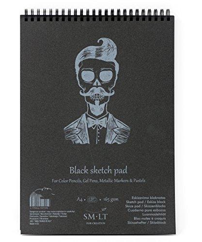 SM.LT EB-30TS/BLACK Authentic Line A4 Skizzenblock, 165gsm Leicht Strukturiert Schwarz Papier, 30 Blatt, mit Perforation, recycelter Deckel, mit Doppelspirale