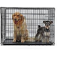 PAWZ Road Hundekäfig Hundebox mit 2 Türen Metall Tragegriff Zusammenklappbar Robuste Metalldraht Waschbar Kunststoffschale für große Hunde Haustiere Schwarz L